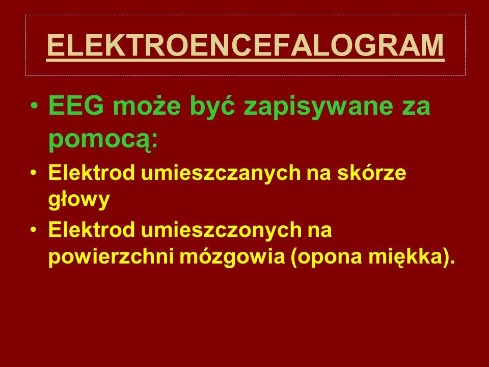 ELEKTROENCEFALOGRAM EEG może być zapisywane za pomocą: