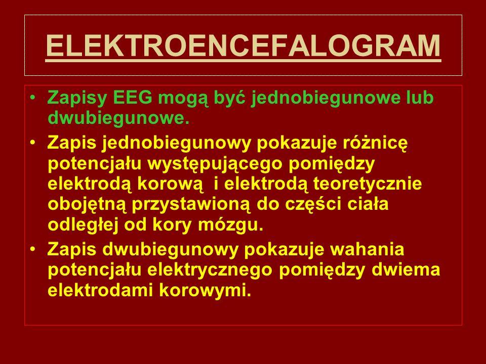 ELEKTROENCEFALOGRAM Zapisy EEG mogą być jednobiegunowe lub dwubiegunowe.