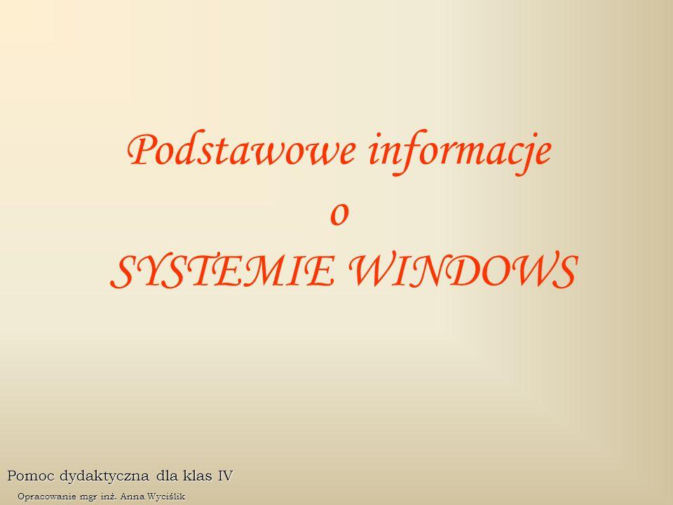 Podstawowe informacje o SYSTEMIE WINDOWS