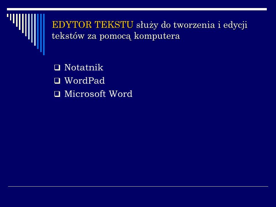 EDYTOR TEKSTU służy do tworzenia i edycji tekstów za pomocą komputera