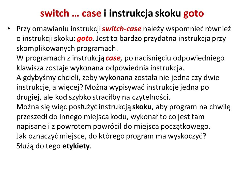 switch … case i instrukcja skoku goto