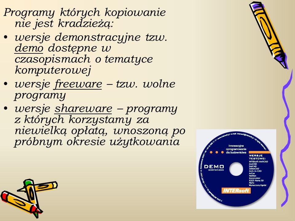 Programy których kopiowanie nie jest kradzieżą: