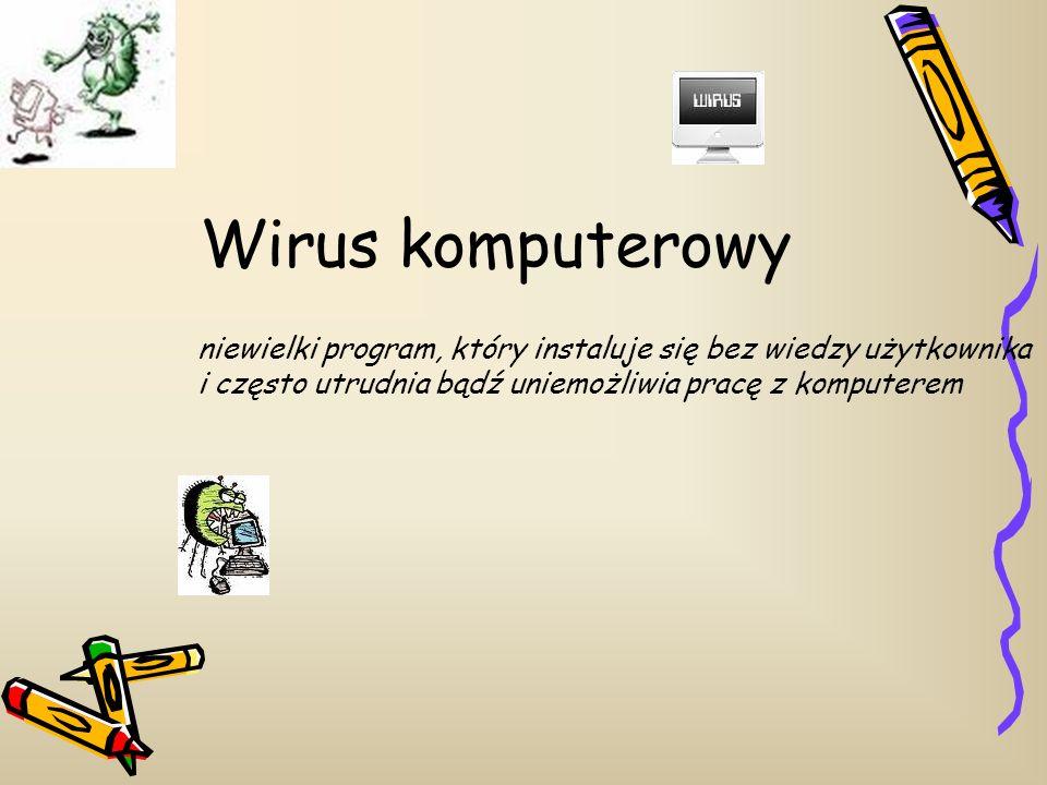 Wirus komputerowy niewielki program, który instaluje się bez wiedzy użytkownika.