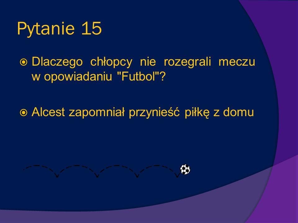 Pytanie 15 Dlaczego chłopcy nie rozegrali meczu w opowiadaniu Futbol .