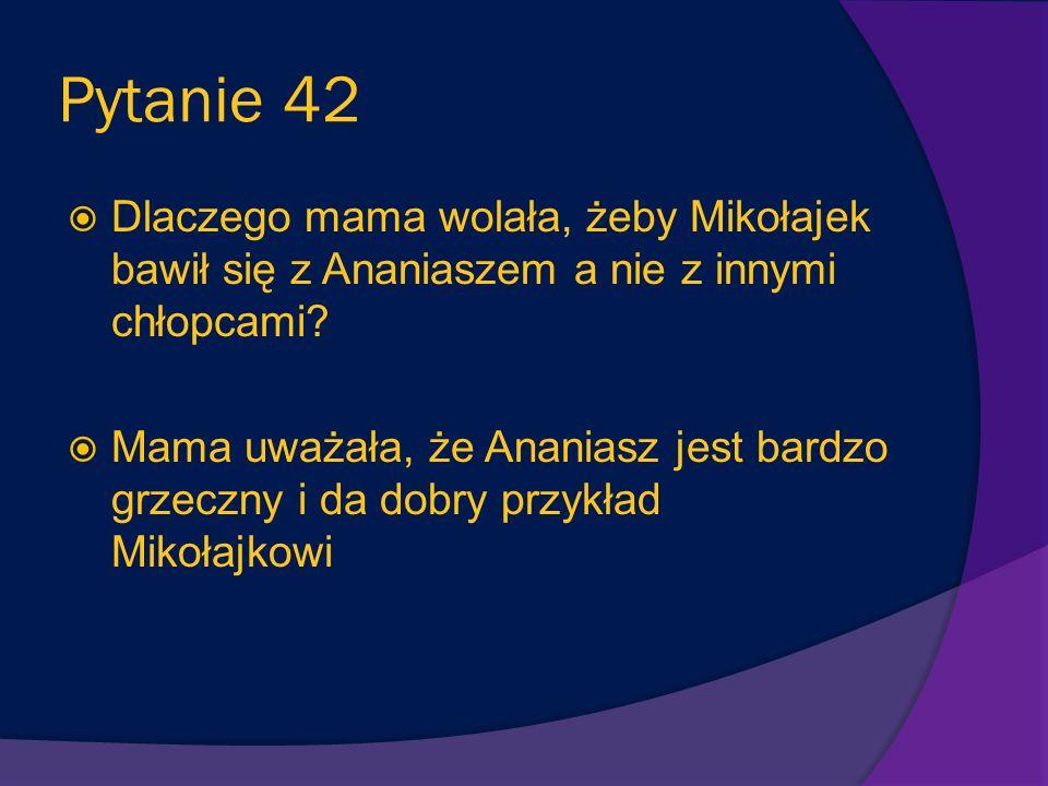 Pytanie 42 Dlaczego mama wolała, żeby Mikołajek bawił się z Ananiaszem a nie z innymi chłopcami