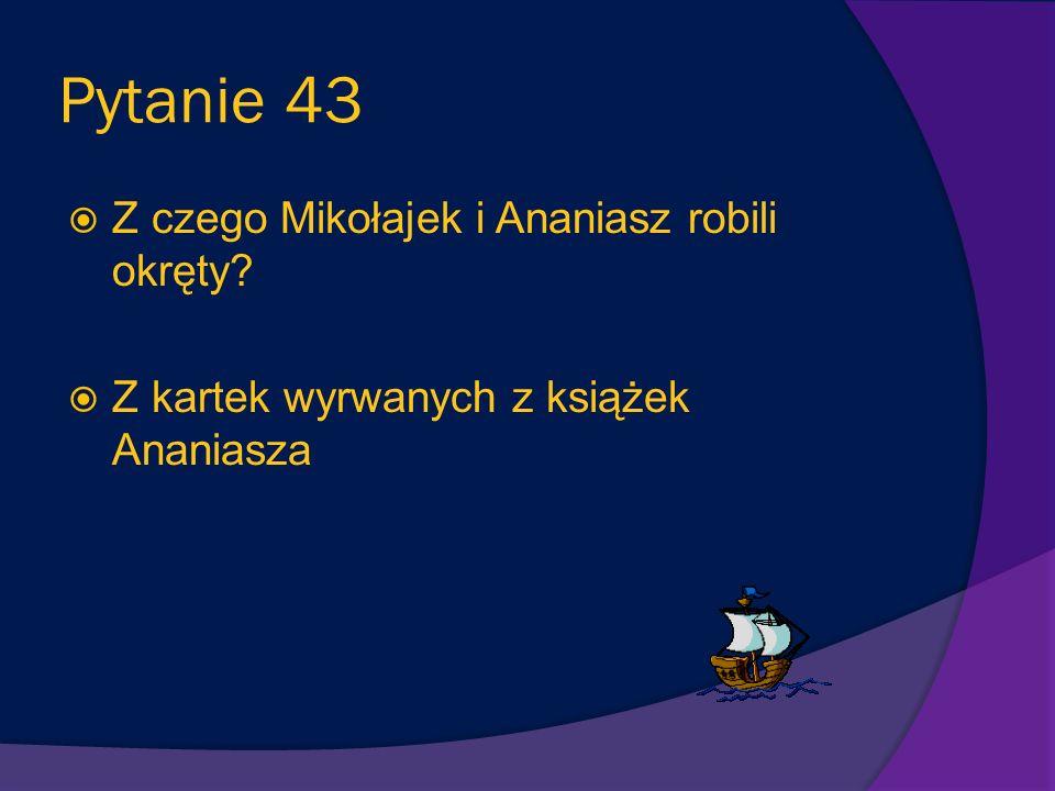 Pytanie 43 Z czego Mikołajek i Ananiasz robili okręty