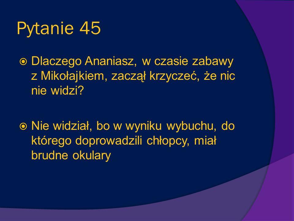 Pytanie 45 Dlaczego Ananiasz, w czasie zabawy z Mikołajkiem, zaczął krzyczeć, że nic nie widzi