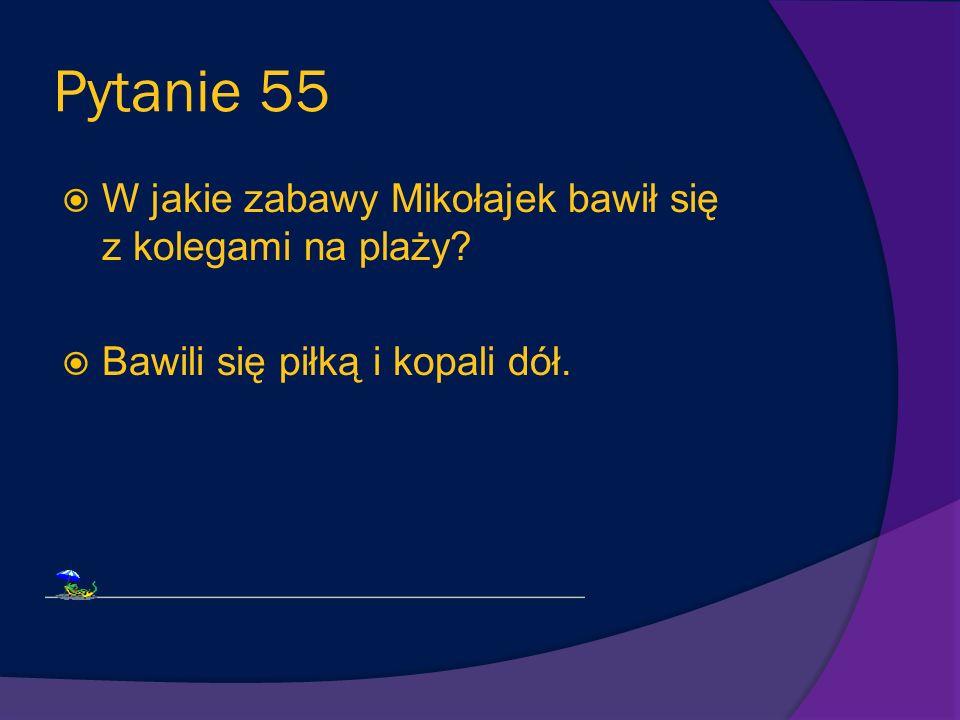 Pytanie 55 W jakie zabawy Mikołajek bawił się z kolegami na plaży