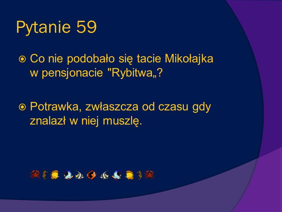 """Pytanie 59 Co nie podobało się tacie Mikołajka w pensjonacie Rybitwa""""."""