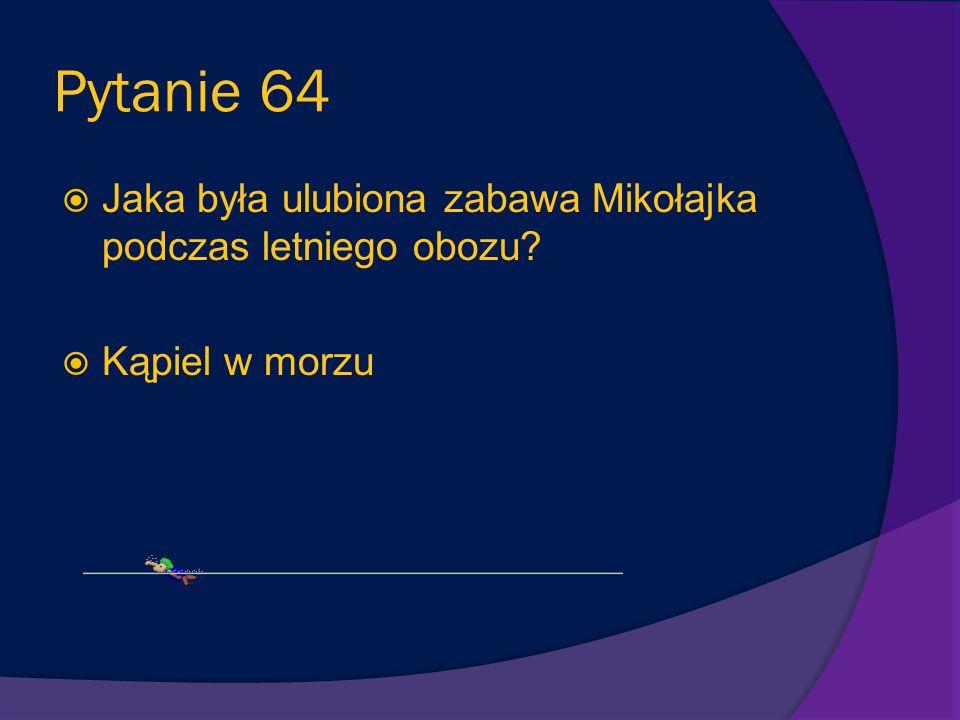 Pytanie 64 Jaka była ulubiona zabawa Mikołajka podczas letniego obozu