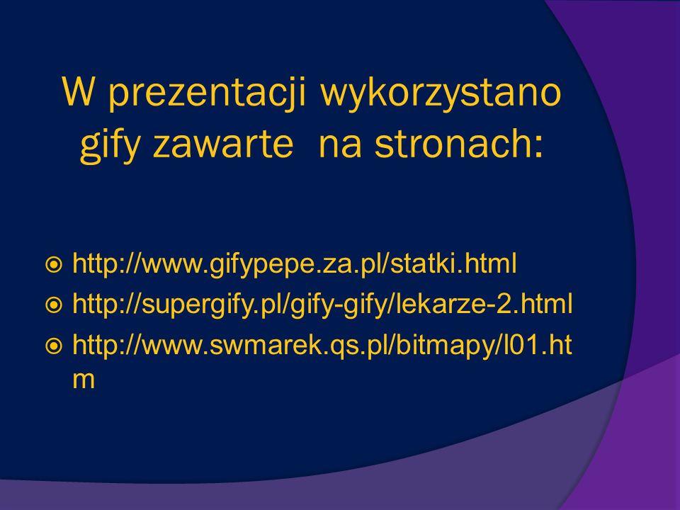 W prezentacji wykorzystano gify zawarte na stronach: