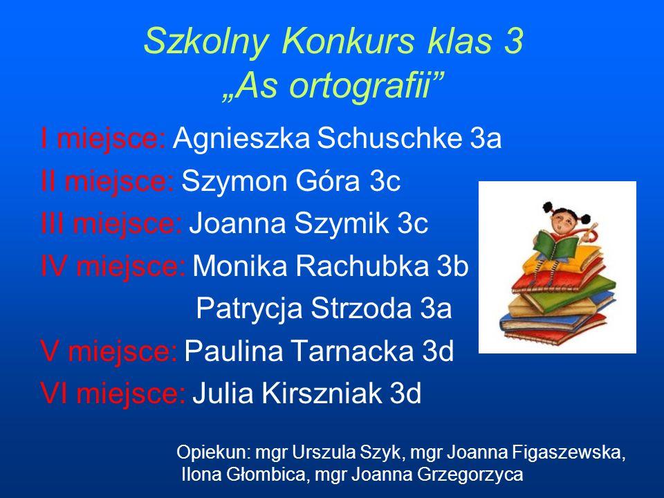 "Szkolny Konkurs klas 3 ""As ortografii"