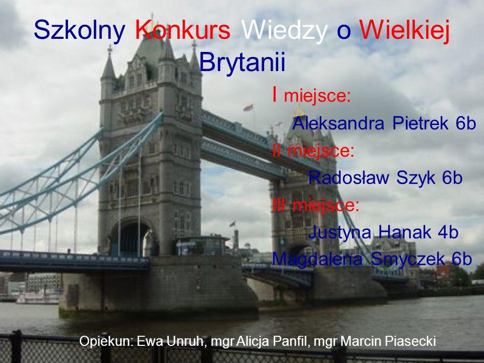 Szkolny Konkurs Wiedzy o Wielkiej Brytanii