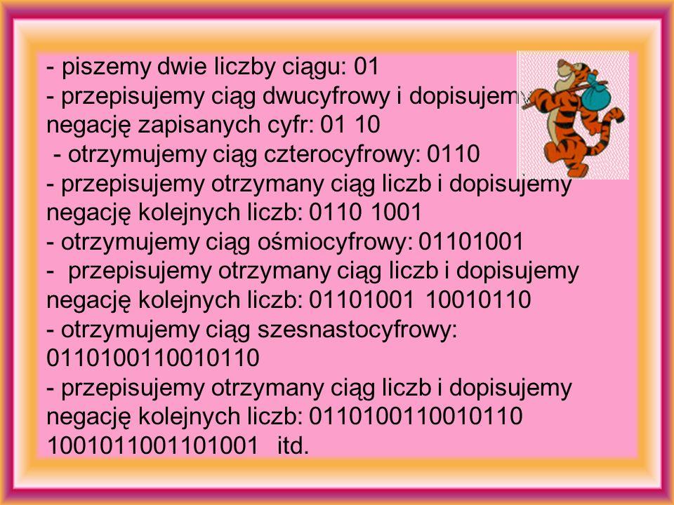 piszemy dwie liczby ciągu: 01 - przepisujemy ciąg dwucyfrowy i dopisujemy negację zapisanych cyfr: 01 10 - otrzymujemy ciąg czterocyfrowy: 0110 - przepisujemy otrzymany ciąg liczb i dopisujemy negację kolejnych liczb: 0110 1001 - otrzymujemy ciąg ośmiocyfrowy: 01101001 - przepisujemy otrzymany ciąg liczb i dopisujemy negację kolejnych liczb: 01101001 10010110 - otrzymujemy ciąg szesnastocyfrowy: 0110100110010110 - przepisujemy otrzymany ciąg liczb i dopisujemy negację kolejnych liczb: 0110100110010110 1001011001101001 itd.