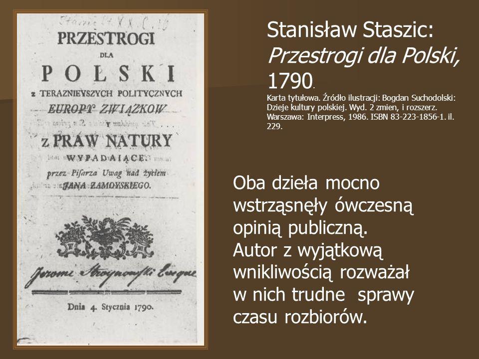 Stanisław Staszic: Przestrogi dla Polski, 1790. Karta tytułowa