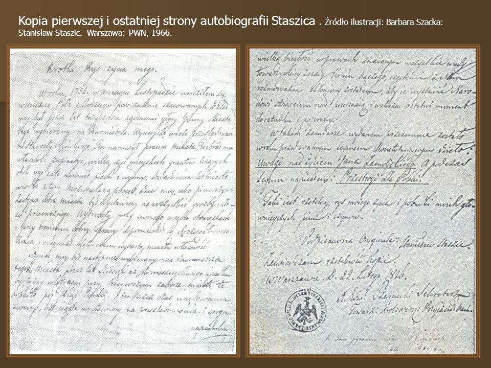 Kopia pierwszej i ostatniej strony autobiografii Staszica