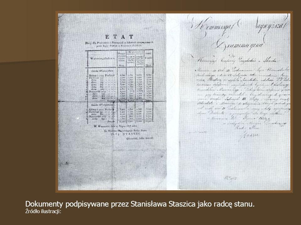 Dokumenty podpisywane przez Stanisława Staszica jako radcę stanu