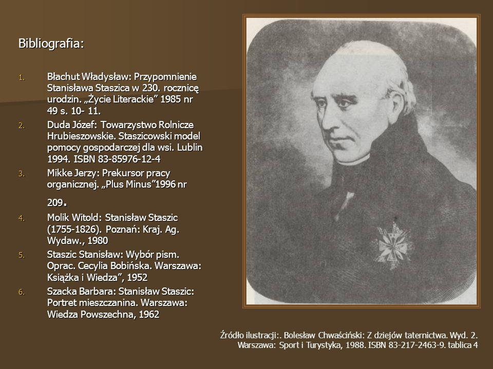 """Bibliografia: Błachut Władysław: Przypomnienie Stanisława Staszica w 230. rocznicę urodzin. """"Życie Literackie 1985 nr 49 s. 10- 11."""