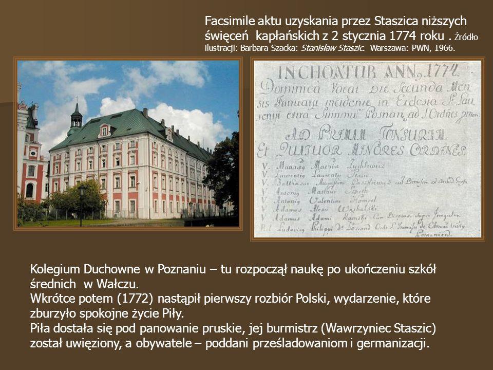 Facsimile aktu uzyskania przez Staszica niższych święceń kapłańskich z 2 stycznia 1774 roku . Źródło ilustracji: Barbara Szacka: Stanisław Staszic. Warszawa: PWN, 1966.