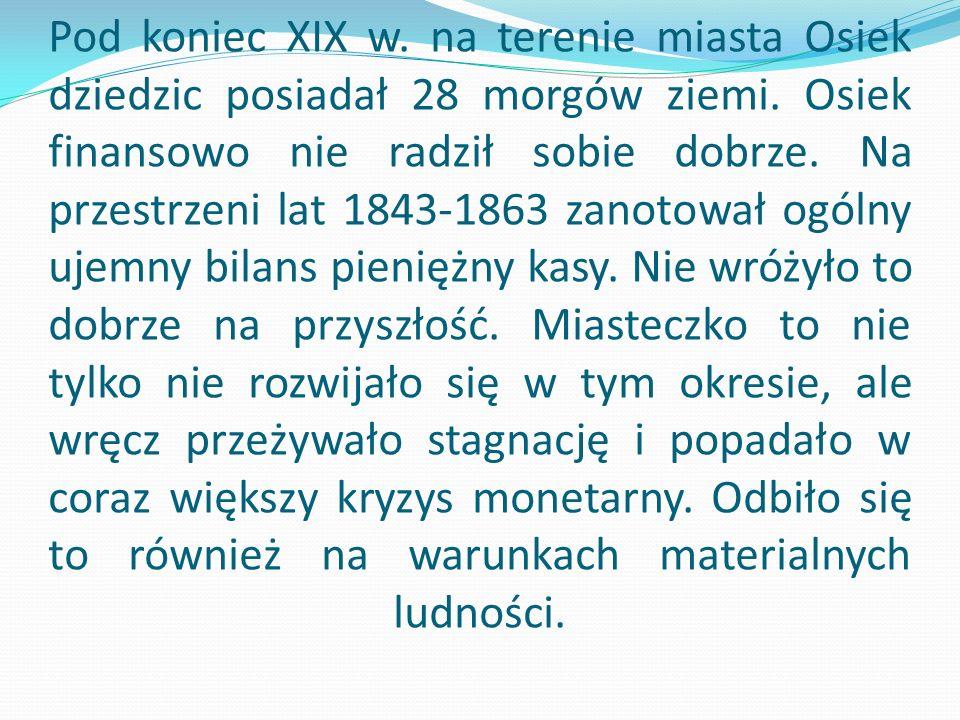 Pod koniec XIX w. na terenie miasta Osiek dziedzic posiadał 28 morgów ziemi.