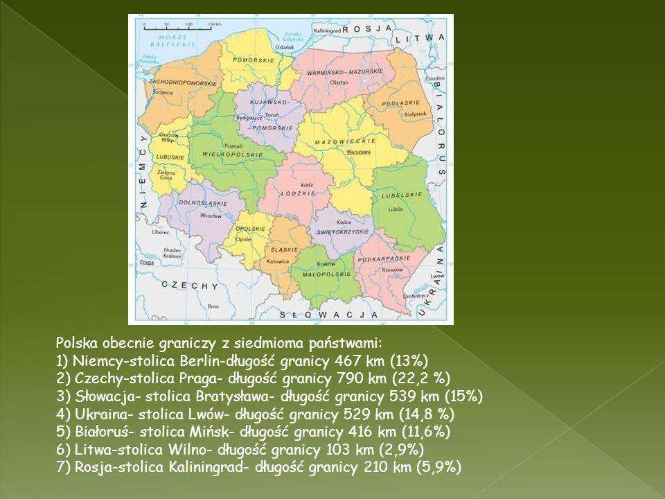 Polska obecnie graniczy z siedmioma państwami: 1) Niemcy-stolica Berlin-długość granicy 467 km (13%) 2) Czechy-stolica Praga- długość granicy 790 km (22,2 %) 3) Słowacja- stolica Bratysława- długość granicy 539 km (15%) 4) Ukraina- stolica Lwów- długość granicy 529 km (14,8 %) 5) Białoruś- stolica Mińsk- długość granicy 416 km (11,6%) 6) Litwa-stolica Wilno- długość granicy 103 km (2,9%) 7) Rosja-stolica Kaliningrad- długość granicy 210 km (5,9%)