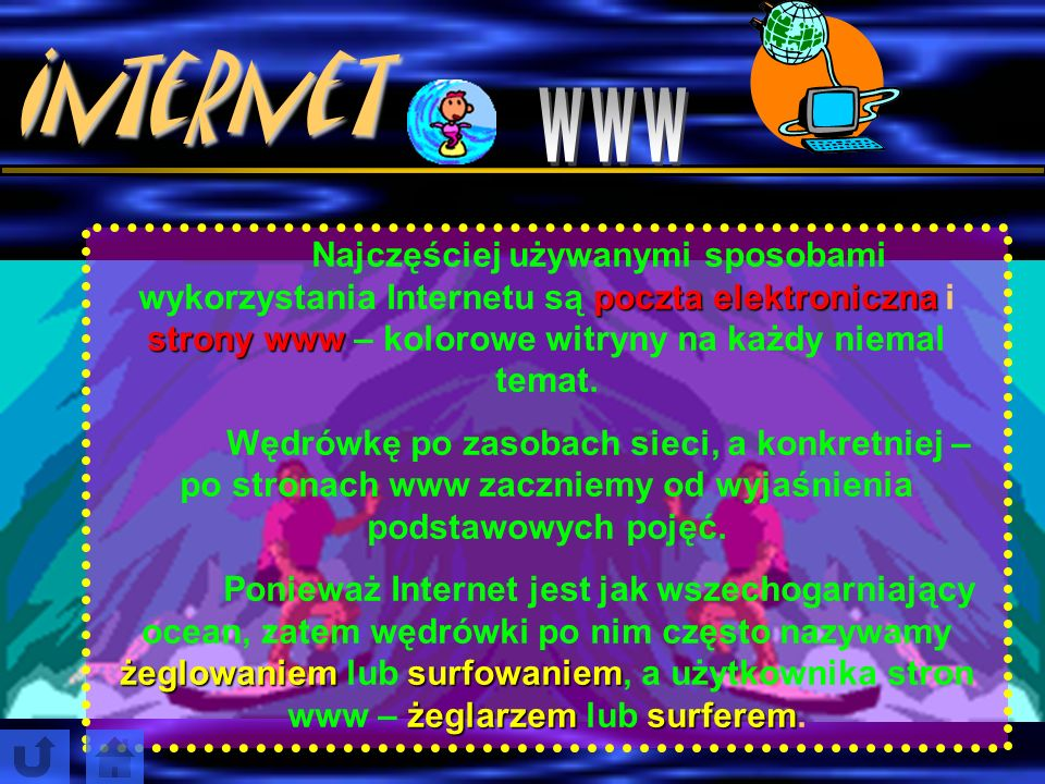 Internet www. Najczęściej używanymi sposobami wykorzystania Internetu są poczta elektroniczna i strony www – kolorowe witryny na każdy niemal temat.
