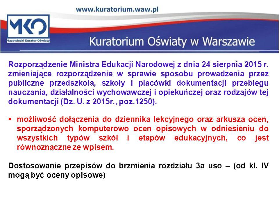 Rozporządzenie Ministra Edukacji Narodowej z dnia 24 sierpnia 2015 r