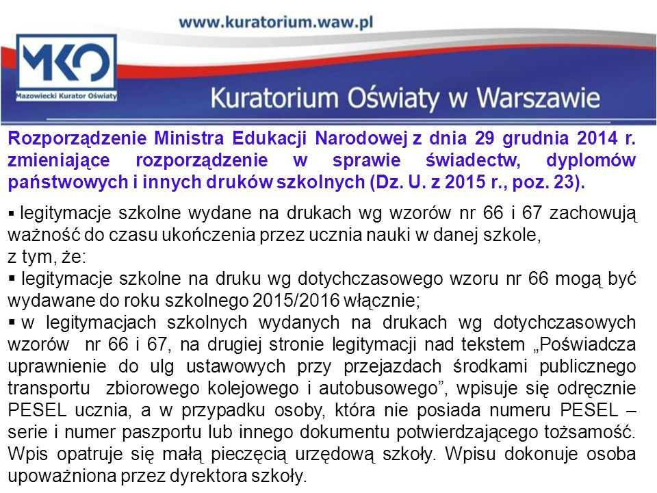 Rozporządzenie Ministra Edukacji Narodowej z dnia 29 grudnia 2014 r