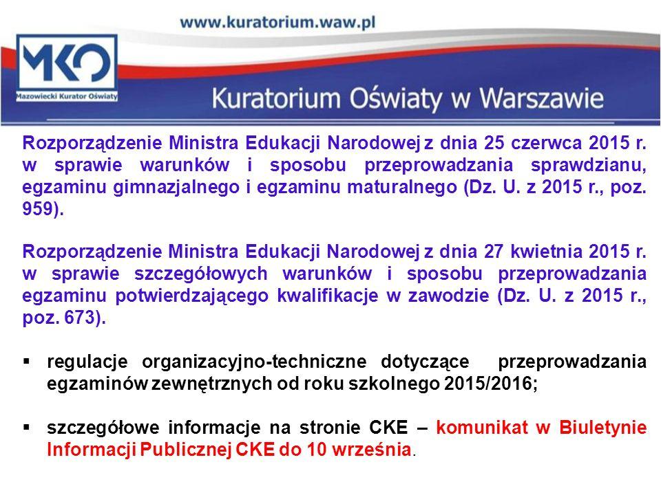 Rozporządzenie Ministra Edukacji Narodowej z dnia 25 czerwca 2015 r