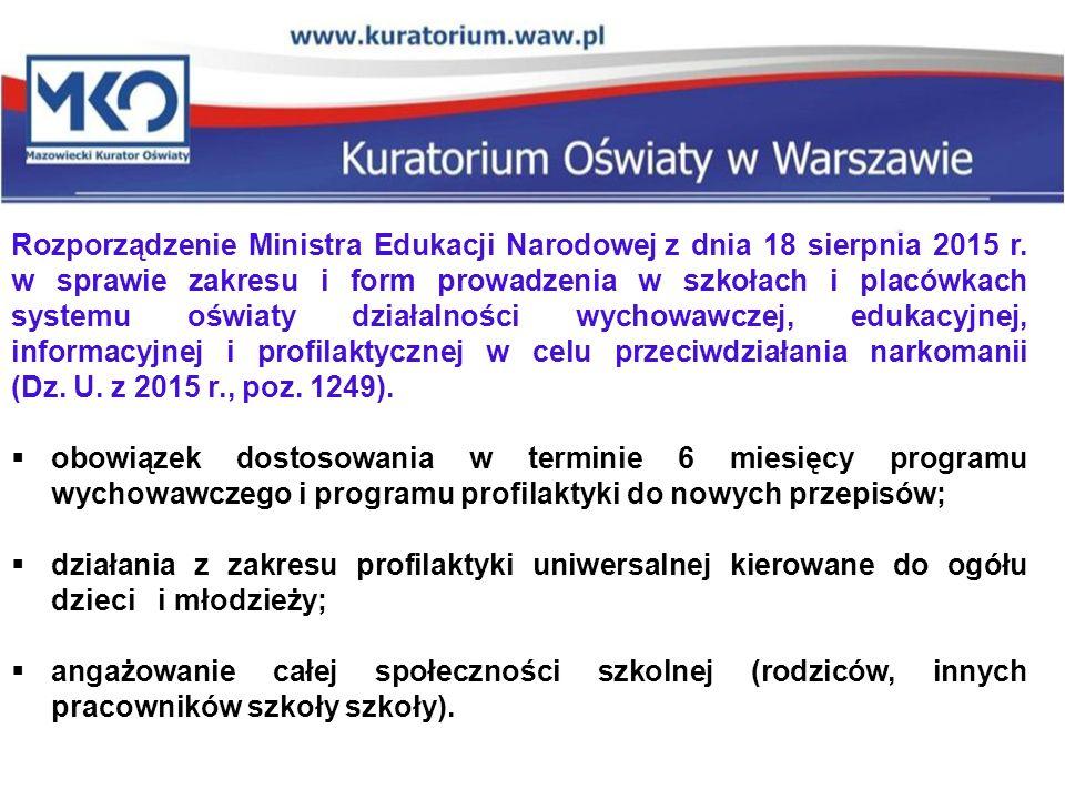 Rozporządzenie Ministra Edukacji Narodowej z dnia 18 sierpnia 2015 r