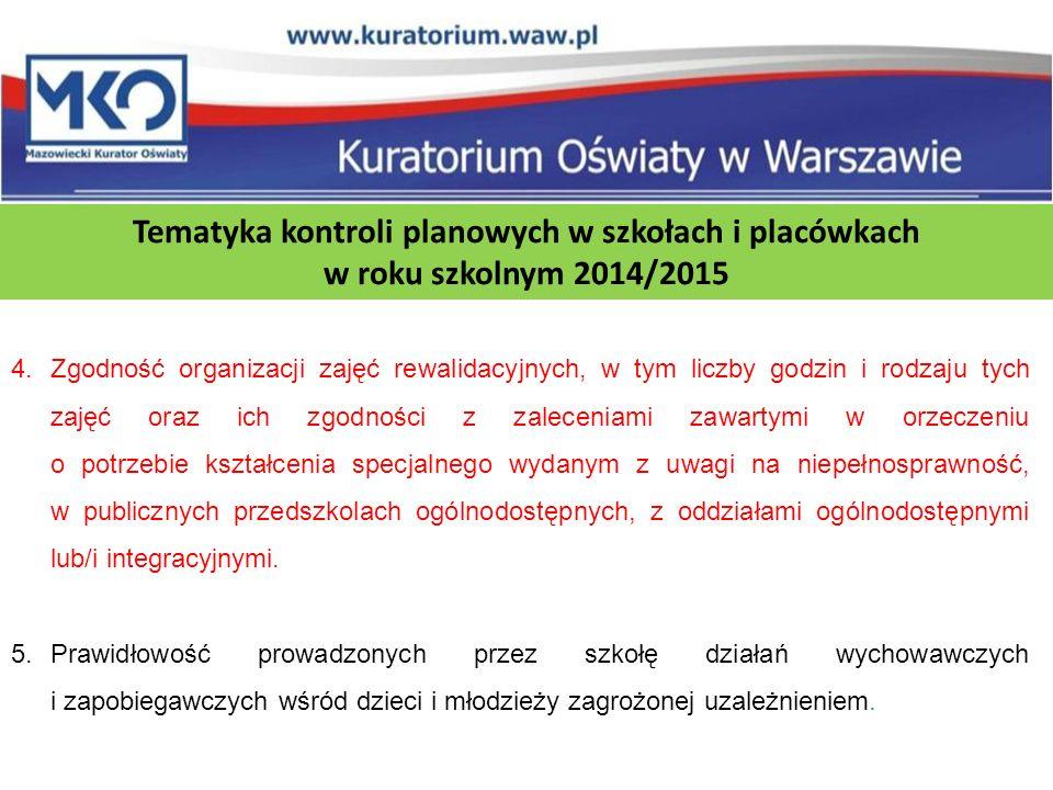 Tematyka kontroli planowych w szkołach i placówkach w roku szkolnym 2014/2015