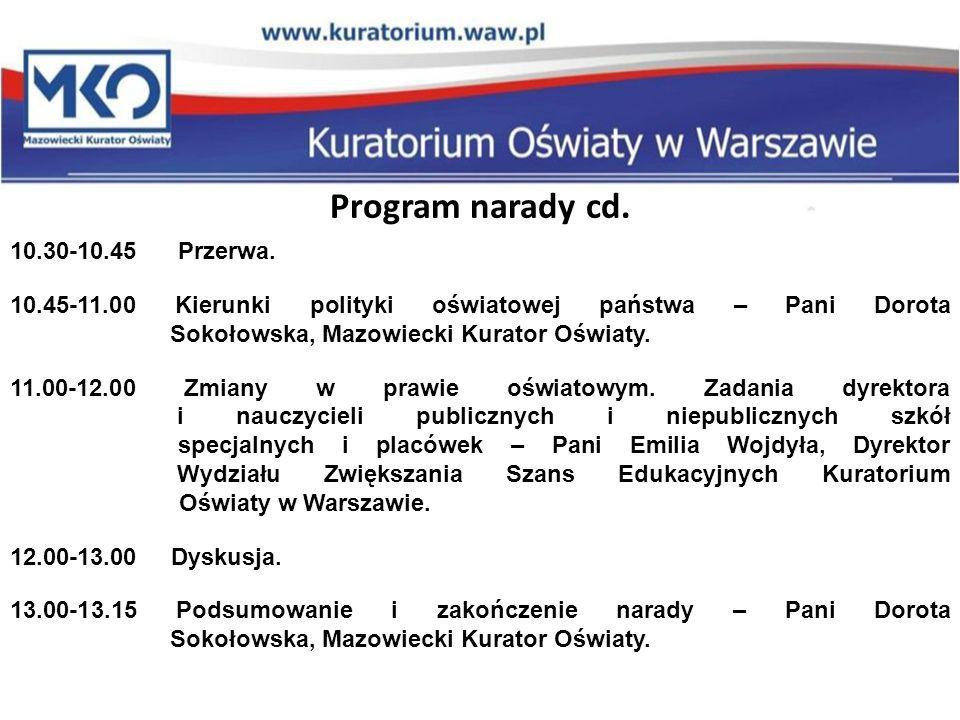 Program narady cd. 10.30-10.45 Przerwa.