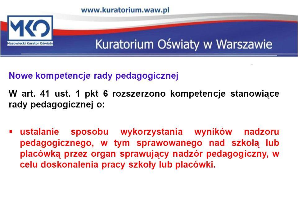 Nowe kompetencje rady pedagogicznej