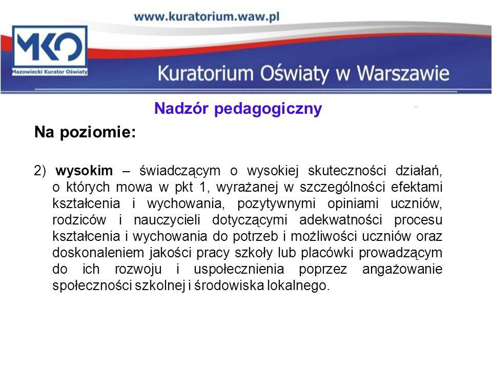 Nadzór pedagogiczny Na poziomie: