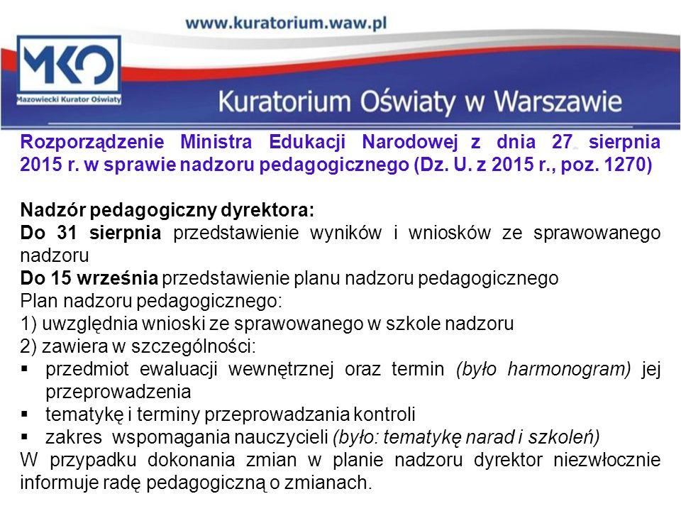 Rozporządzenie Ministra Edukacji Narodowej z dnia 27 sierpnia 2015 r