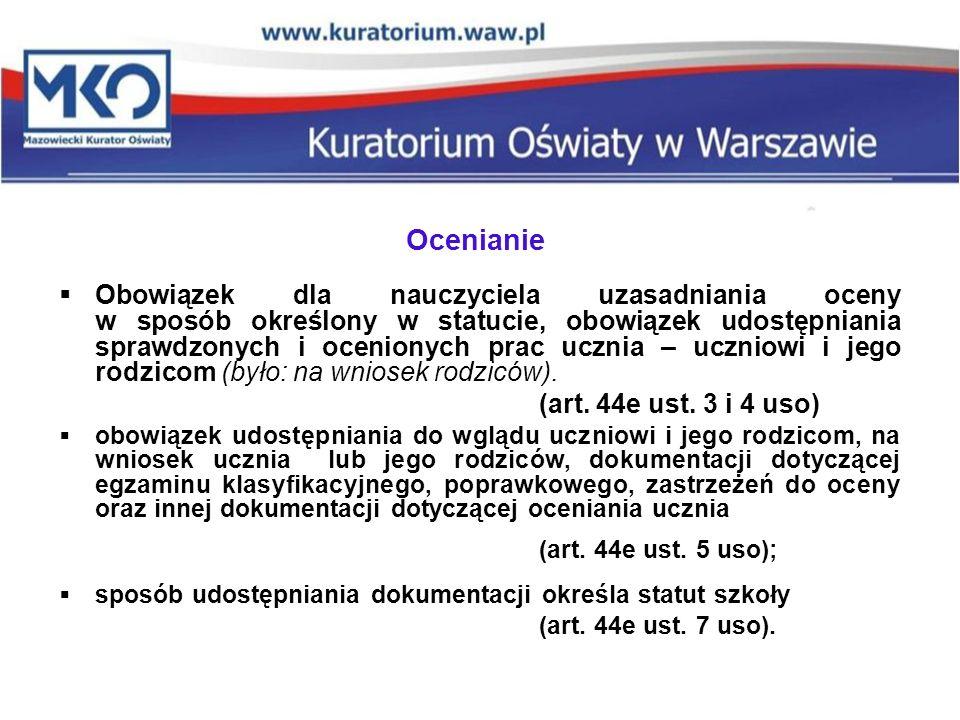 (art. 44e ust. 5 uso); Ocenianie