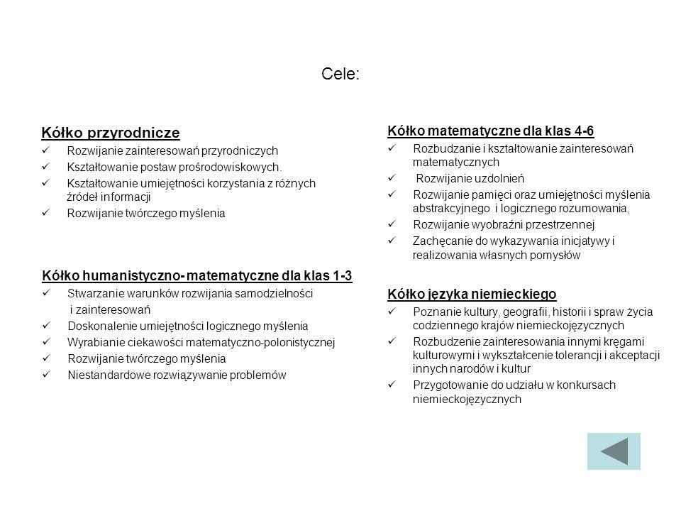 Cele: Kółko przyrodnicze Kółko matematyczne dla klas 4-6