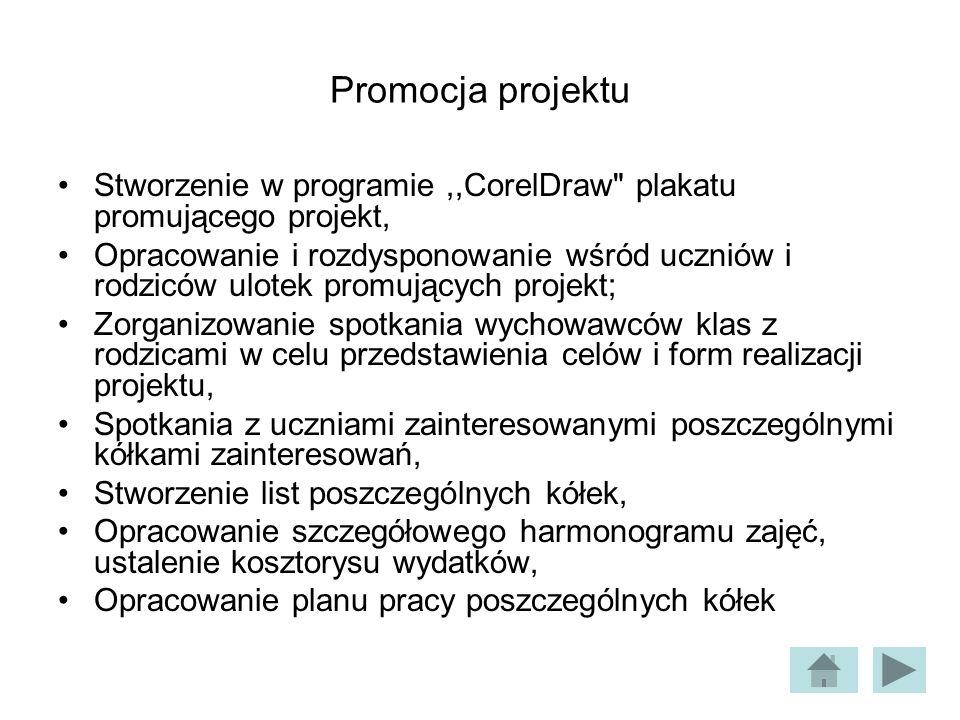 Promocja projektuStworzenie w programie ,,CorelDraw plakatu promującego projekt,
