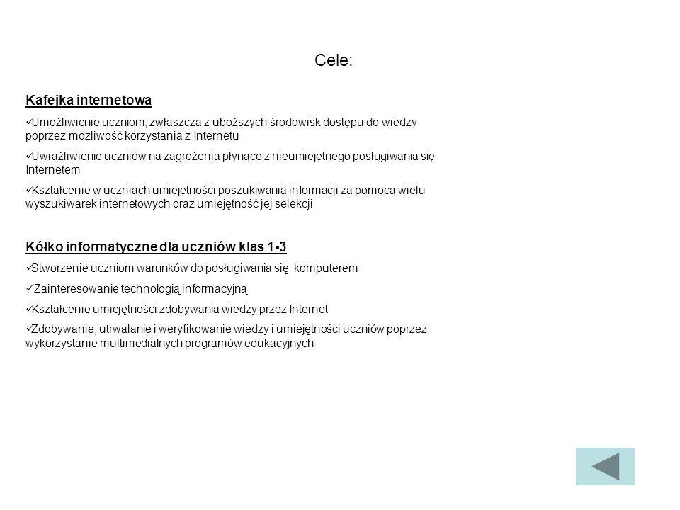 Cele: Kafejka internetowa Kółko informatyczne dla uczniów klas 1-3