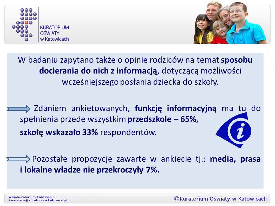 W badaniu zapytano także o opinie rodziców na temat sposobu docierania do nich z informacją, dotyczącą możliwości wcześniejszego posłania dziecka do szkoły.