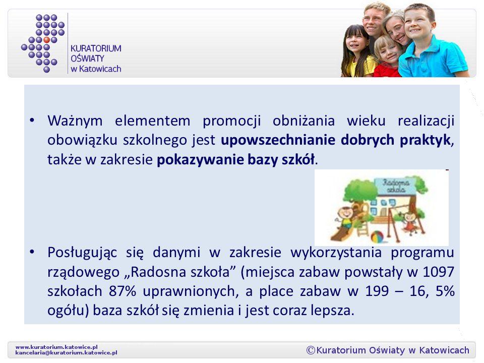 Ważnym elementem promocji obniżania wieku realizacji obowiązku szkolnego jest upowszechnianie dobrych praktyk, także w zakresie pokazywanie bazy szkół.