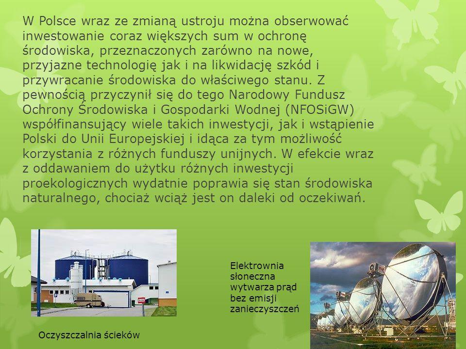 W Polsce wraz ze zmianą ustroju można obserwować inwestowanie coraz większych sum w ochronę środowiska, przeznaczonych zarówno na nowe, przyjazne technologię jak i na likwidację szkód i przywracanie środowiska do właściwego stanu. Z pewnością przyczynił się do tego Narodowy Fundusz Ochrony Środowiska i Gospodarki Wodnej (NFOSiGW) współfinansujący wiele takich inwestycji, jak i wstąpienie Polski do Unii Europejskiej i idąca za tym możliwość korzystania z różnych funduszy unijnych. W efekcie wraz z oddawaniem do użytku różnych inwestycji proekologicznych wydatnie poprawia się stan środowiska naturalnego, chociaż wciąż jest on daleki od oczekiwań.