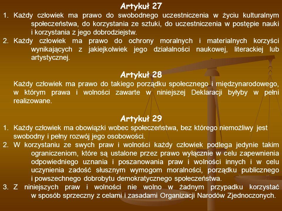 Artykuł 27 Artykuł 28 Artykuł 29
