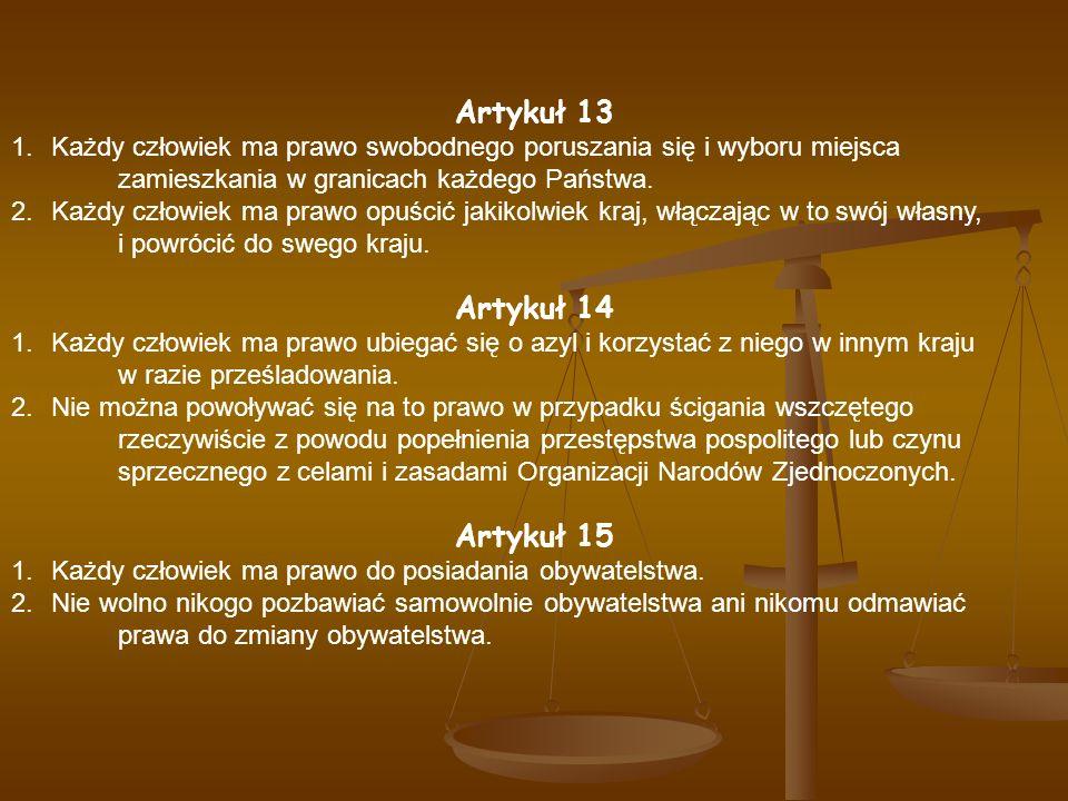 Artykuł 13 Artykuł 14 Artykuł 15