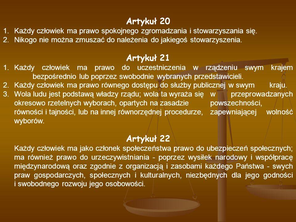 Artykuł 20 Artykuł 21 Artykuł 22