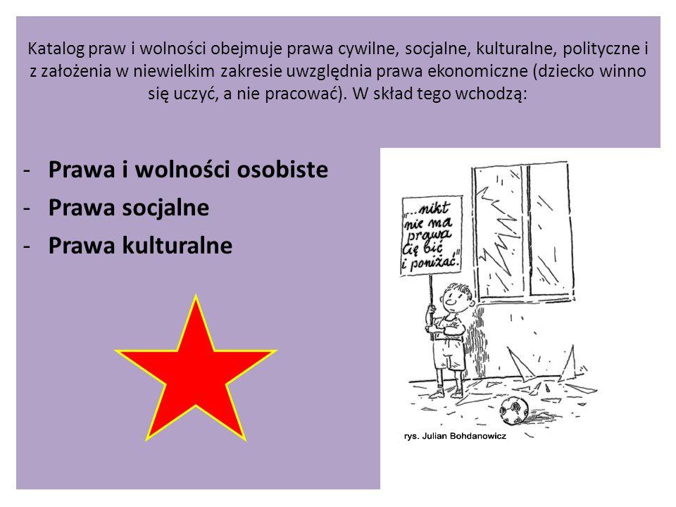Prawa i wolności osobiste Prawa socjalne Prawa kulturalne