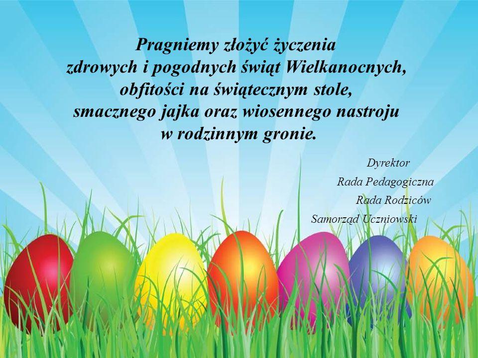 Pragniemy złożyć życzenia zdrowych i pogodnych świąt Wielkanocnych, obfitości na świątecznym stole, smacznego jajka oraz wiosennego nastroju w rodzinnym gronie.