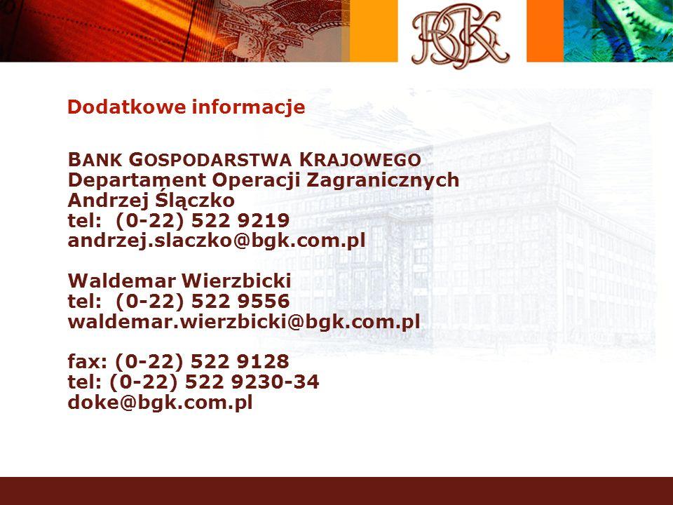 Dodatkowe informacje BANK GOSPODARSTWA KRAJOWEGO. Departament Operacji Zagranicznych. Andrzej Ślączko.