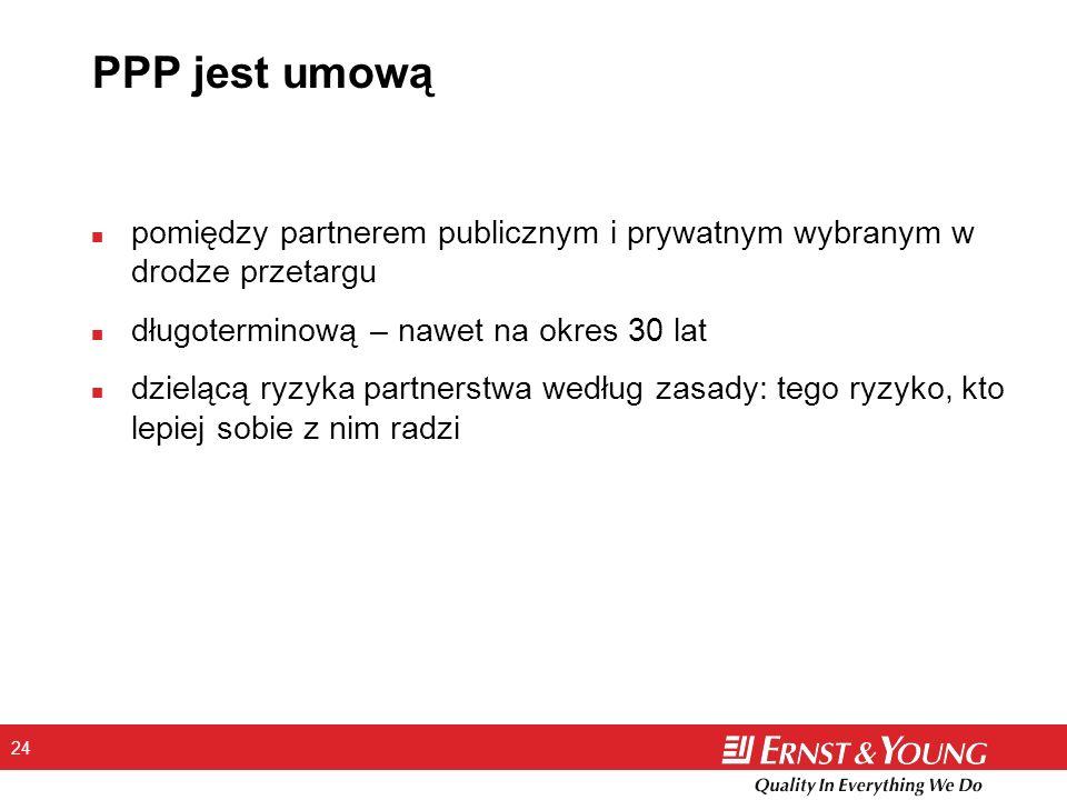 PPP jest umową pomiędzy partnerem publicznym i prywatnym wybranym w drodze przetargu. długoterminową – nawet na okres 30 lat.