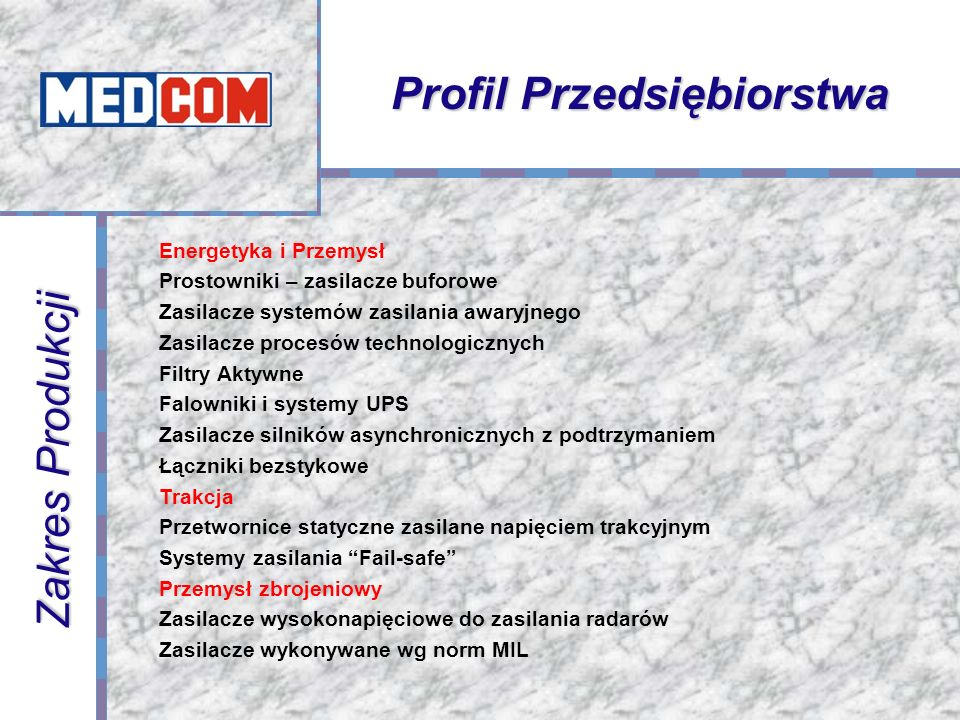 Profil Przedsiębiorstwa